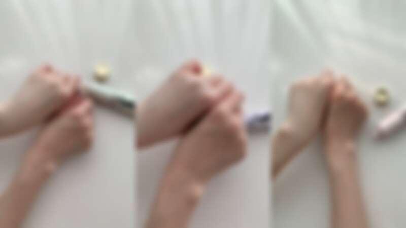 YSL名模肌密光幻防護妝前乳,三色使用前後對比。