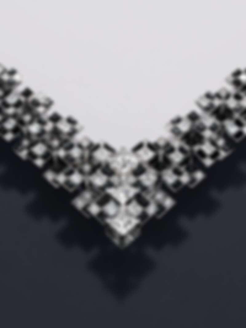 Meride 天然水晶、鑽石與縞瑪瑙項鍊