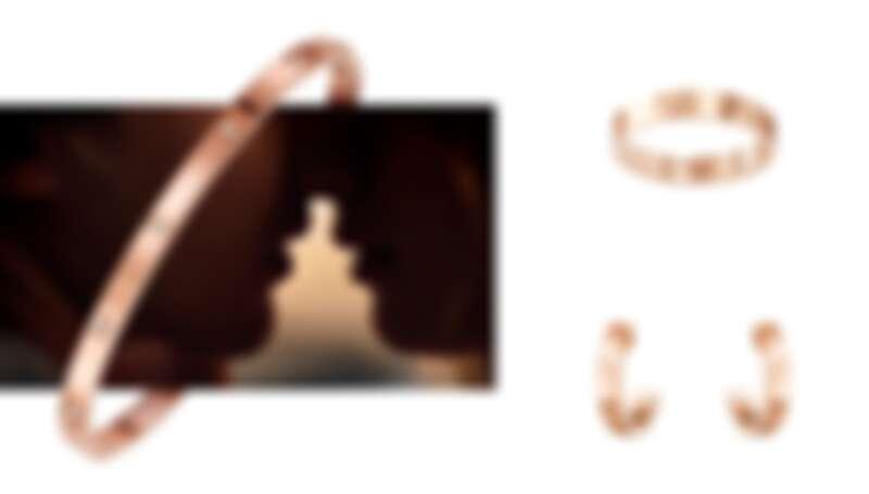 由左至右為:卡地亞LOVE鑽石手環、卡地亞LOVE戒指(上)、卡地亞LOVE耳環(下)