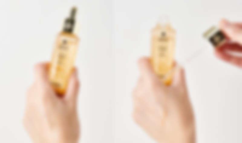 嬌蘭全新第三代小金瓶「皇家蜂王乳平衡油3G」,質地水潤輕爽流動性強,抹開後迅速吸收不黏膩