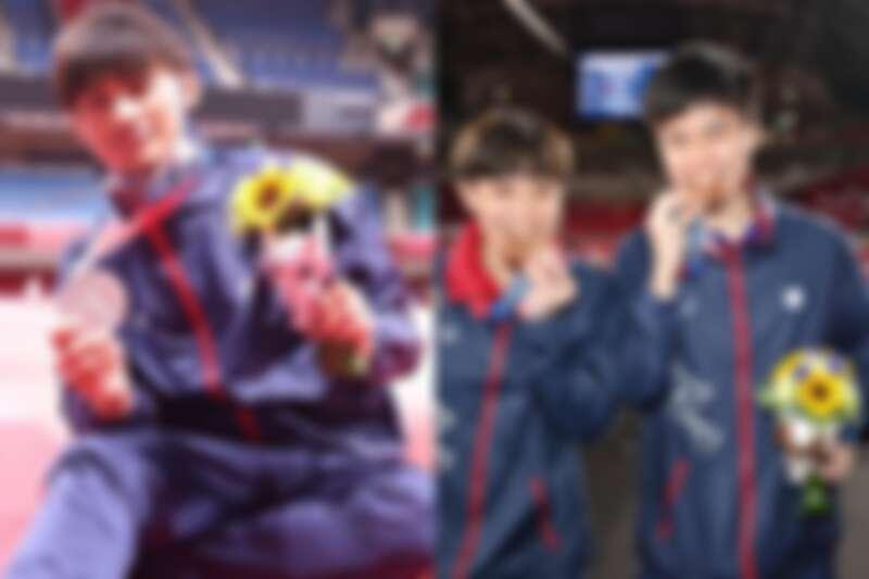 我國選手楊勇緯、鄭怡靜、林昀儒獲獎畫面。
