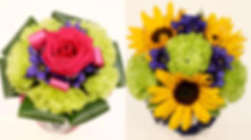 桔梗、向日葵、龍膽是代表了東日本大地震受災最嚴重的日本三縣,左為殘奧會花束,差別在粉紅玫瑰。