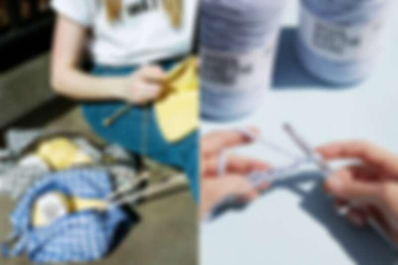左為棒針編織,右為鉤針編織。