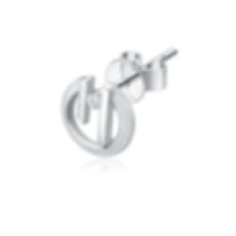 周大福「玄彬 925」系列 18K 白色黃金美鑽耳環 (單隻) 售價:約 NT$8,100 起