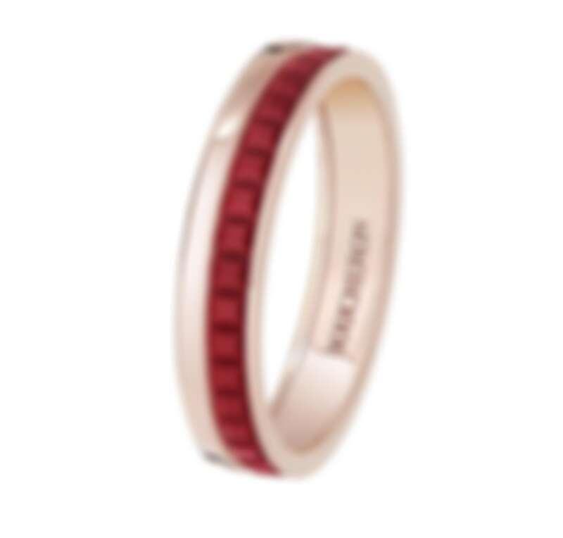 Boucheron Quatre Red系列戒指,18K玫瑰金及紅色陶瓷,售價店洽