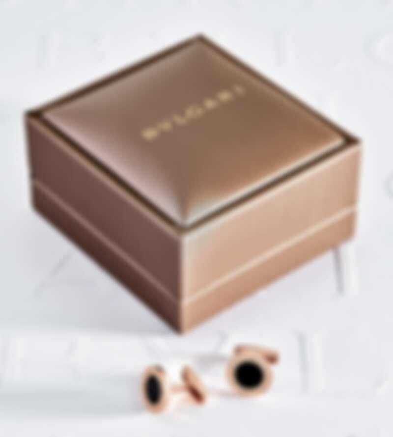 BVLGARI BVLGARI 系列玫瑰金縞瑪瑙袖扣_參考售價:約新台幣88,700元