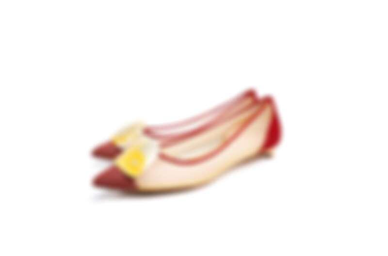 網紗拼接皮革平底鞋,NT59,800。