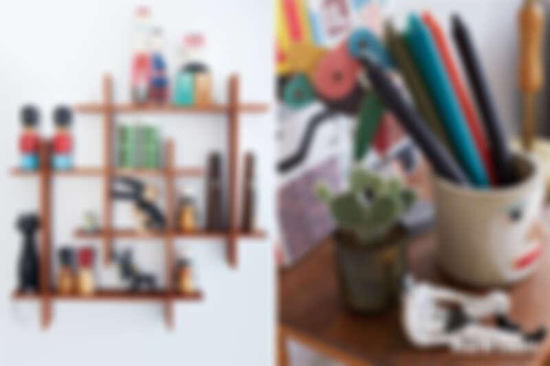 (右)公寓的牆壁擺上喜歡的收藏作為裝飾。(左)英國插畫家與陶藝家 Lucy Kirk 作的陶瓷人像,丹麥家居品牌HAY的筆筒,是具有現代生活風格的家居品牌。