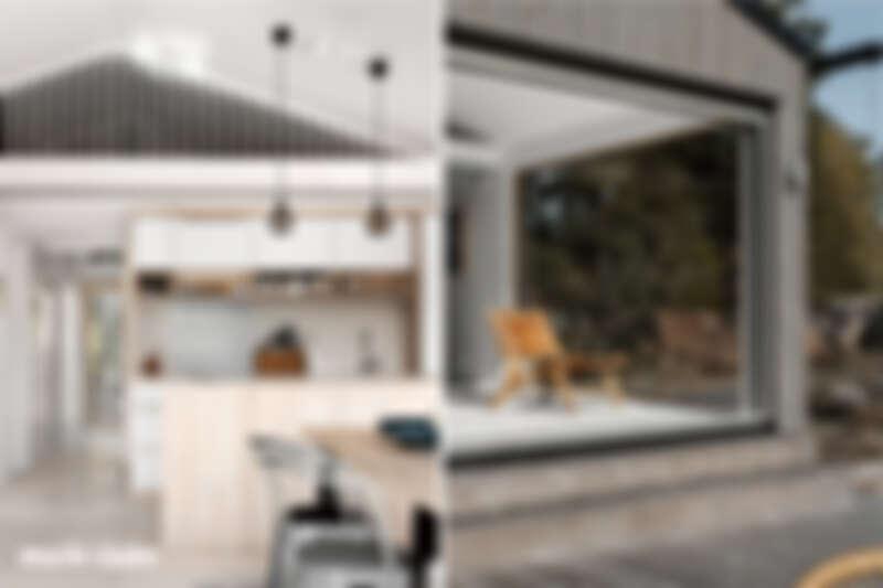 (左)夏日小屋的廚房,雖然不大,但配備齊全。 (右)非常喜歡夏日小屋的客廳與戶外露台連接的空間,因為在不同時間有不同光影效果。Photo by Alexander Gårdenberg