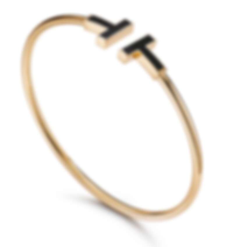 Tiffany T Wire手鐲,黃金鑲嵌黑色縞瑪瑙,售價店冾