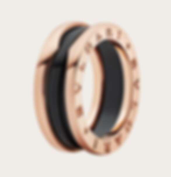 BVLGARI B.zero 1系列雙環戒指,玫瑰金鑲嵌黑色陶瓷,售價NT$48,700