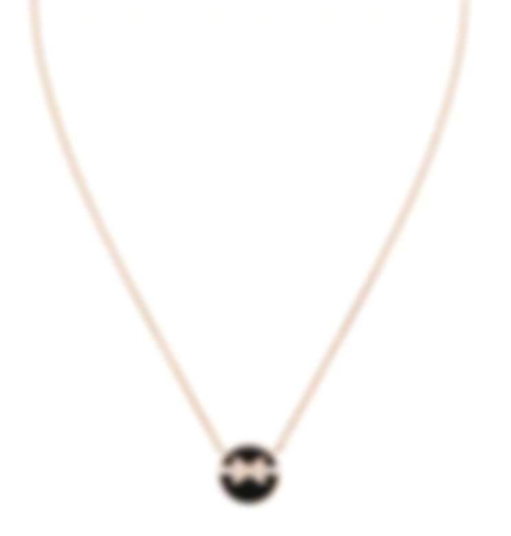 Chaumet Jeux De Liens Harmony系列吊墜項鍊,小型款,玫瑰金鑲嵌鑽石與黑色縞瑪瑙,售價店洽