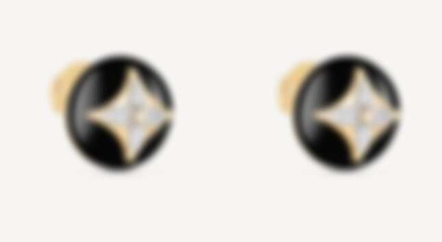 LV B Blossom 系列耳釘耳環,白金與黃金,鑲嵌鑽石與縞瑪瑙,售價NT$146,000