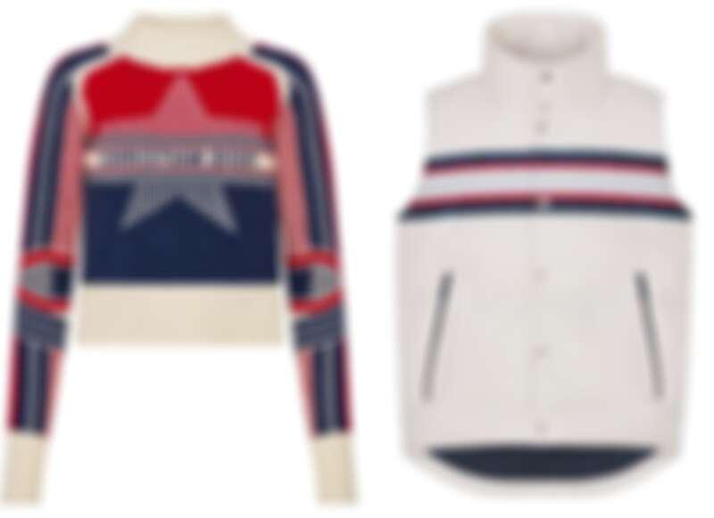 (左)DiorAlps 幸運星合身針織毛衣、(右)DiorAlps 條紋裝飾白色羽絨背心