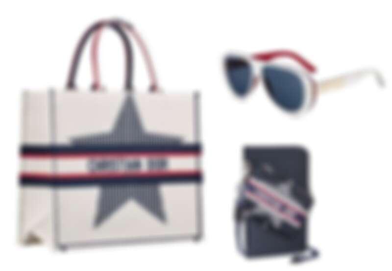(左)DiorAlps Book 拿鐵白幸運星刺繡托特包、(上)DiorSignature A2U DiorAlps 白紅復古框飛行員墨鏡、(下)DiorAlps 藍色帆布幸運星隨身包