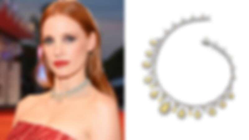 Chopard Haute Joaillerie 系列項鍊——鑲嵌 40.72 克拉梨形黃彩鑽、51.50 克拉梨形切割鑽石、5.07 克拉馬眼形切割鑽石和2.22 克拉黃鑽