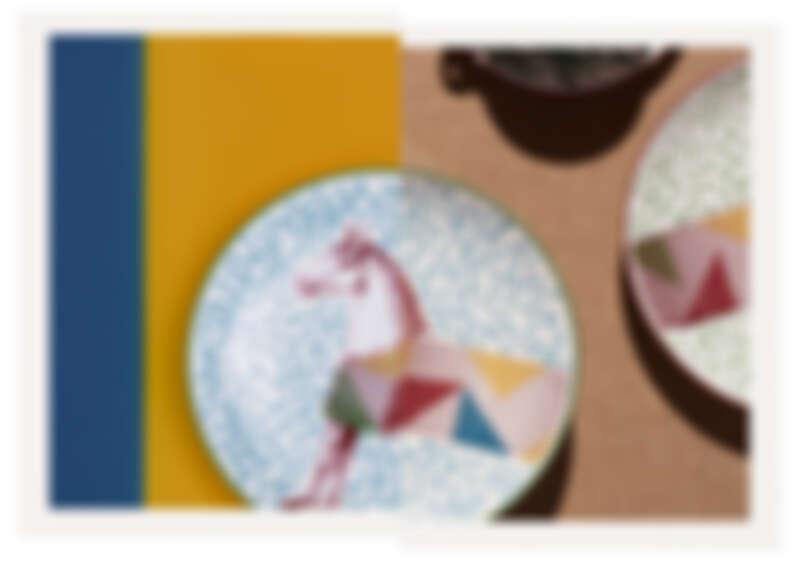 Hippomobile 系列甜點盤,極白瓷器,共有3款圖紋可選擇。