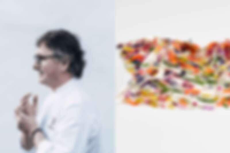 Andoni Luis Aduriz 主廚與其作品 SUSPENSION Squid。