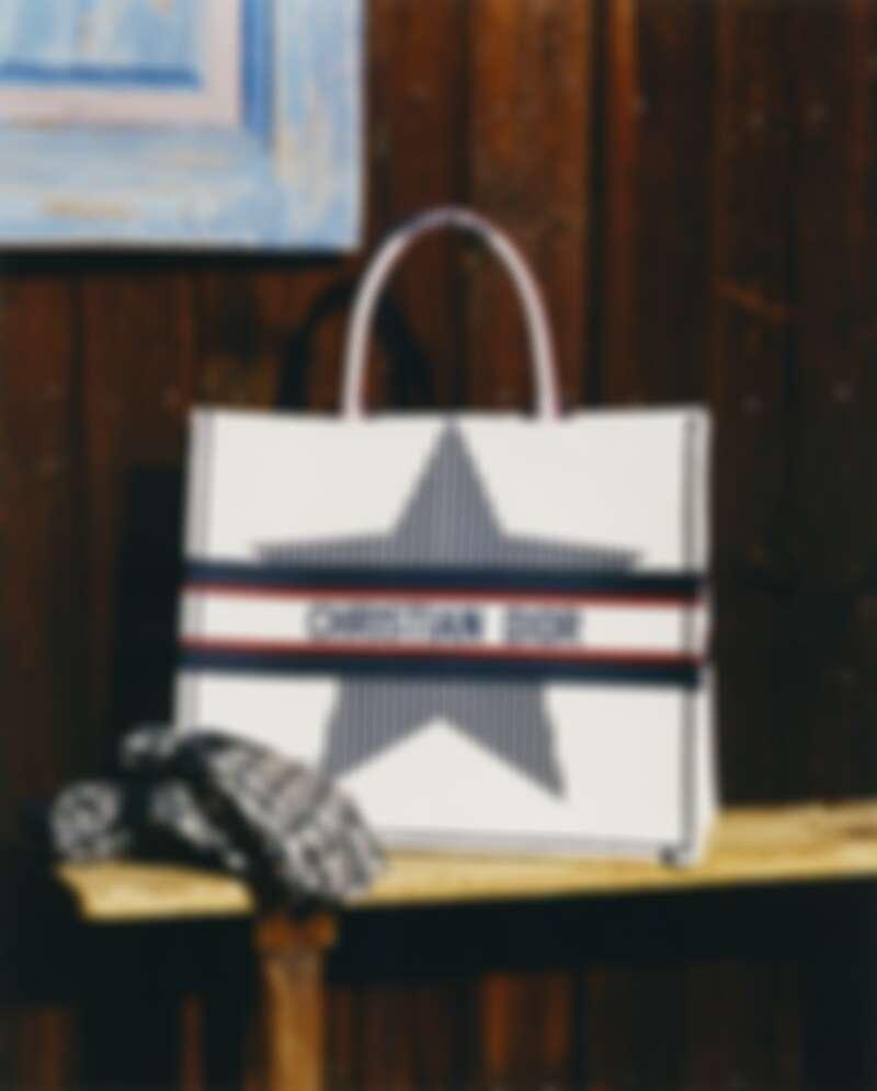 DiorAlps系列Book拿鐵白幸運星刺繡托特包,NT98,000