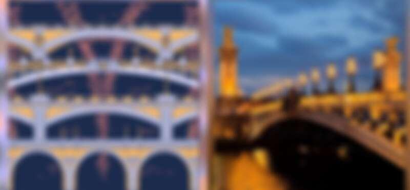 (左) FLORAiKU夢迴巴黎淡香精瓶身設計圖案、(右)巴黎亞歷山大三世橋。