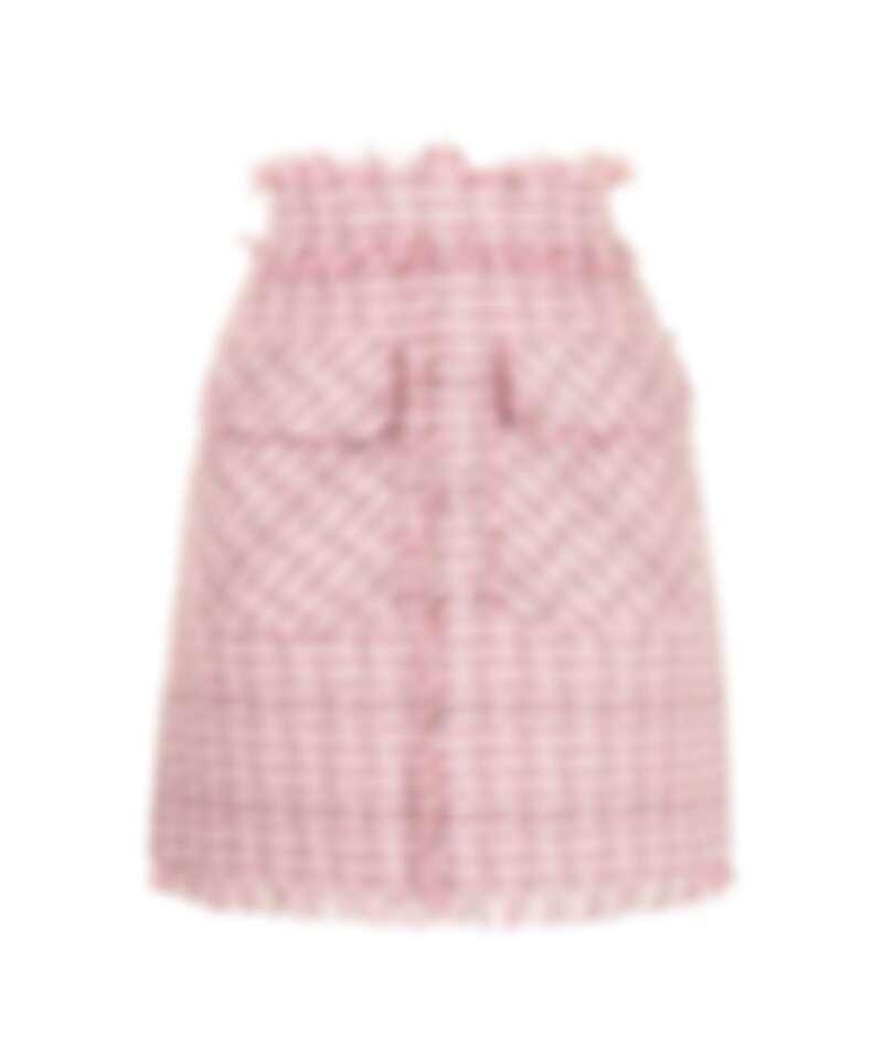 MSGM 粉色毛呢格紋短裙,NT13,500。