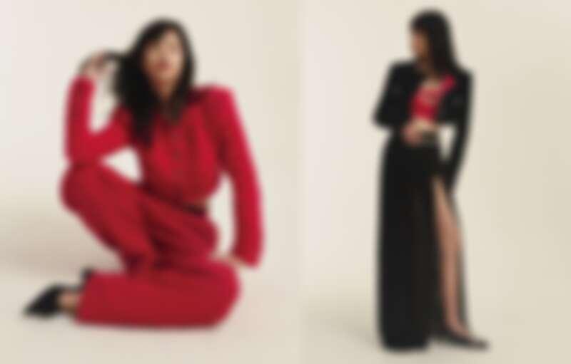 (左)桃紅色短版斜紋軟呢外套與同款雙 C Logo 水晶鑲飾刺繡滑雪造型寬褲、黑色皮革雙 C Logo 腰帶、黑色羅緞山茶花飾低跟涼鞋,all by CHANEL。(右)黑色羊毛短版斜紋軟呢外套、桃紅色絲質緹花背心、黑色絲質嫘縈罩裙、金屬水晶鑲飾幻象珍珠腰鍊與項鍊、銀色亮片雙色低跟芭蕾舞鞋,all by CHANEL。