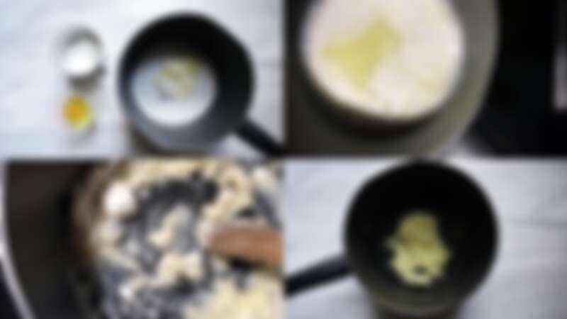 在家自製簡單又美味的巧克力小泡芙,步驟1~2。圖/宅時尚甜點by大口心心。