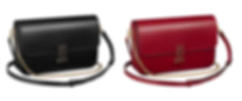 Double C de Cartier鍊帶肩揹包小型款(黑色小牛皮、櫻桃紅色小牛皮),參考價格約NT92,000