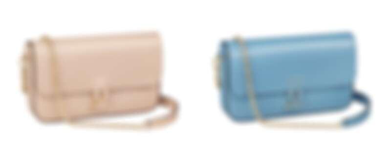 Double C de Cartier迷你款鍊帶包(米粉色小牛皮、卡布里藍色小牛皮),參考價格約NT 82,000