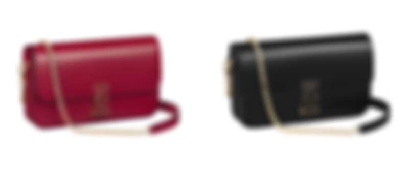 Double C de Cartier迷你款鍊帶包(櫻桃紅色小牛皮、黑色小牛皮),參考價格約NT82,000
