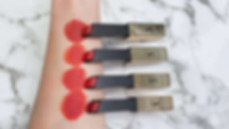YSL奢華緞面絲絨唇膏2021誘惑棕紅系列手部試色,由上到下為:#32、#33、#416、#1966。