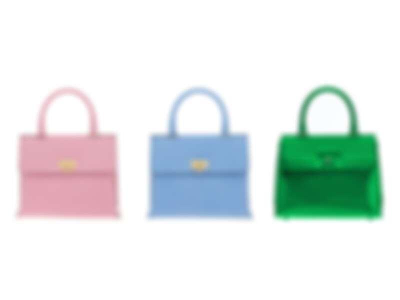 圖左/中: TRIFOLIO小牛皮手提包,建議售價NT77,900、圖右:TRIFOLIO綠色鏡面牛皮手提包,建議售價NT79,900
