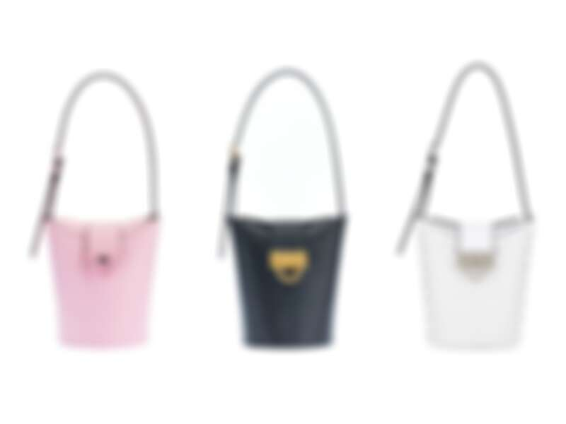 圖左/中: TRIFOLIO牛皮小水桶包,建議售價NT49,500、圖右:TRIFOLIO白色牛皮水晶小水桶包,建議售價NT60,900