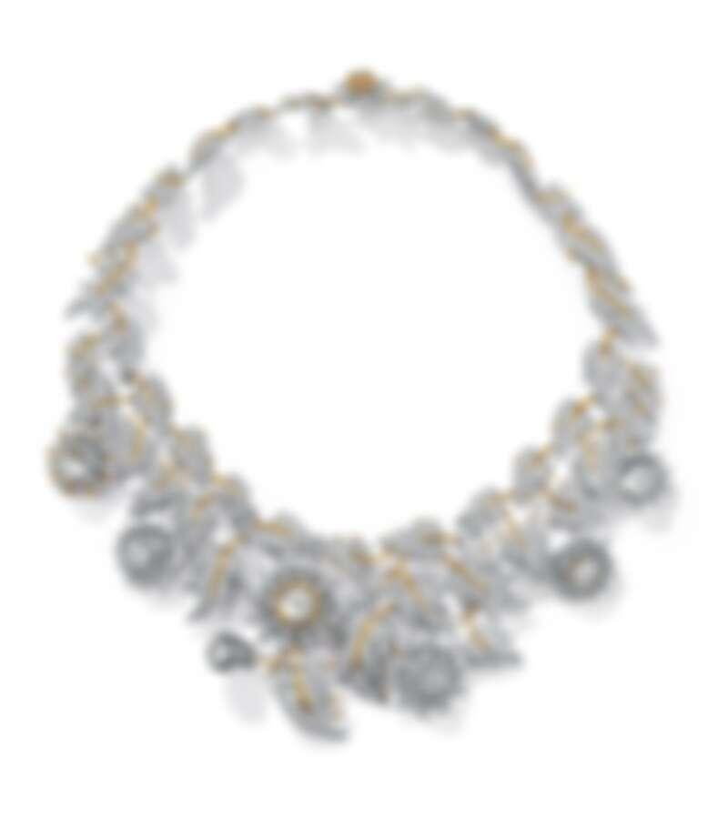 Tiffany _ Co. Schlumberger Thistle鉑金與18K金鑲嵌總重逾57克拉鑽石薊花設計項鍊