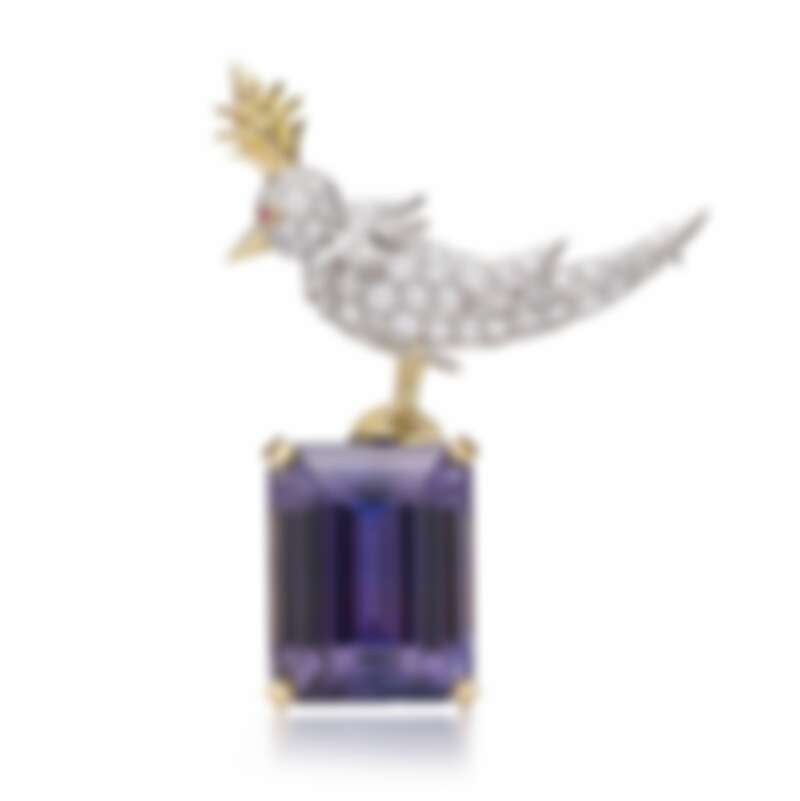Tiffany _ Co. Schlumberger鉑金與18K金鑲嵌主石逾51.37克拉丹泉石與鑽石胸針