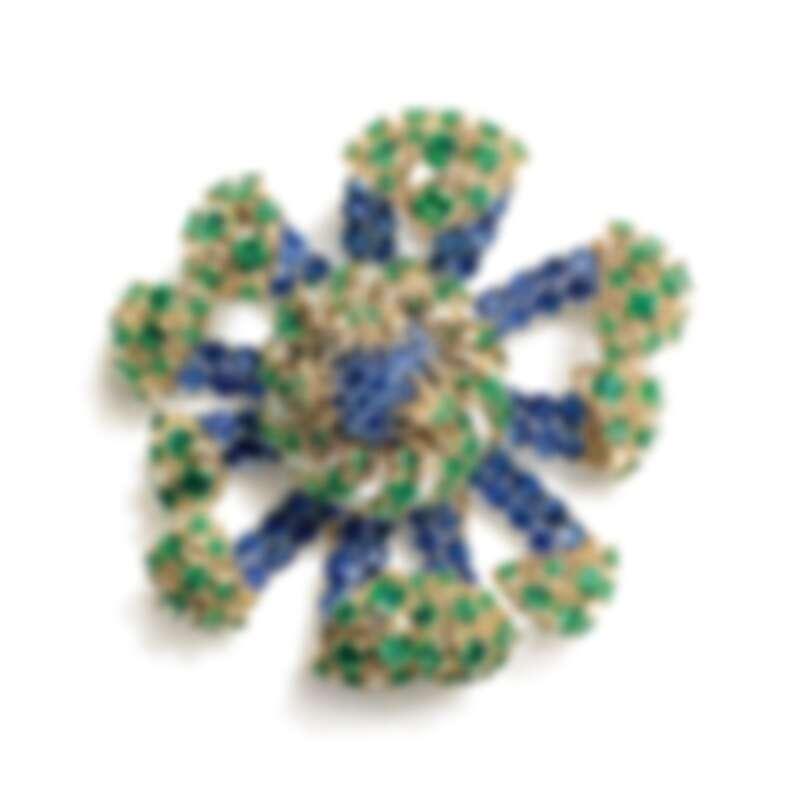 Tiffany _ Co. Schlumberger Sea Anemone 18K黃金及鉑金胸針, 鑲有總重逾26克拉的橢圓形及圓形藍寶石及總重逾17克拉的沙弗萊石及圓形明亮式鑽石