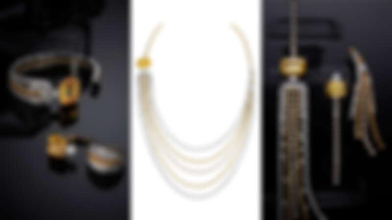 由左至右:Golden Stopper手鐲、戒指、項鍊及耳環