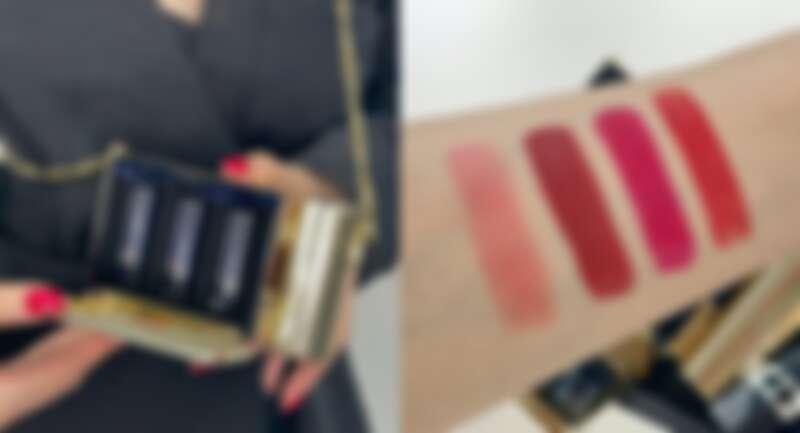 DIOR迪奧藍星唇膏金緻珠寶盒四色手部試色,左到右:#466、#858、#862、#999