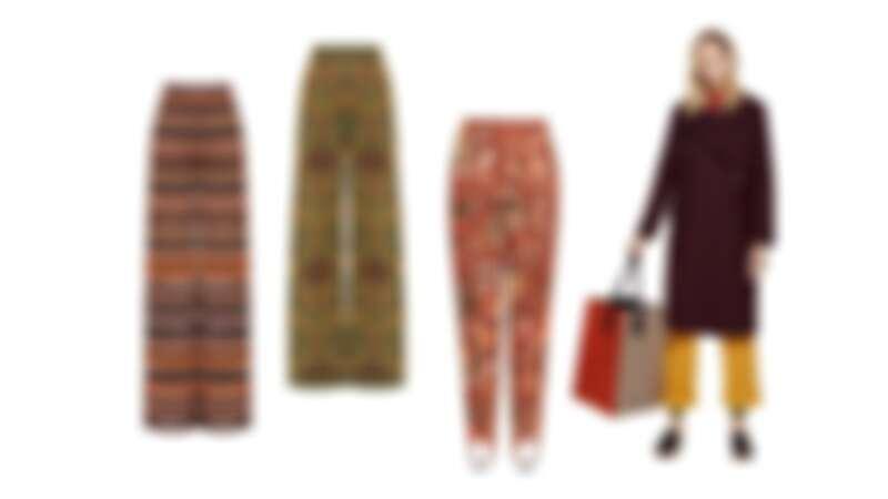 拼接透紗針織寬版長褲,東歐緹花圖案長褲,藝術圖紋印花踩腳褲,芥末黃打褶褲,all by M Missoni。