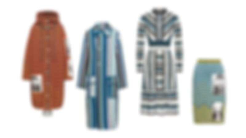 拼貼圖像波紋連帽大衣,不規則條紋長大衣,拼接蕾絲條紋針織洋裝,拼貼圖像波紋針織窄裙,all by M Missoni。