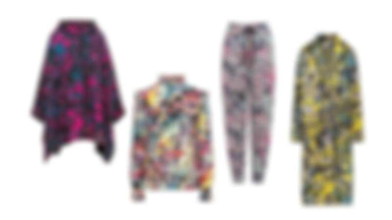 螢光色系藝術圖紋斗蓬披風外套,荷葉邊飾多彩上衣,束繩彩繪長褲,數位圖紋針織長大衣,all by M Missoni。