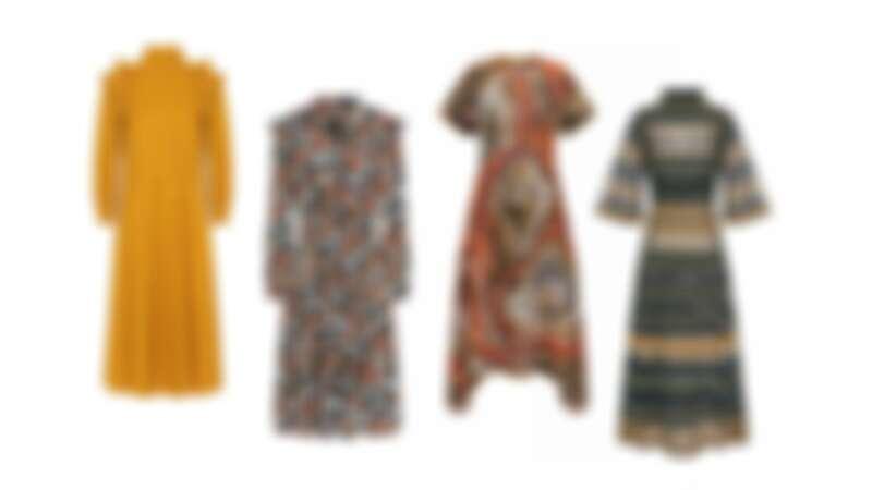 芥末黃長袖洋裝,復古印花洋裝,藝術圖紋針織洋裝,透紗拼接針織洋裝,all by M Missoni。