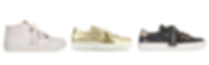 TOD'S白色登山靴飾釦皮革高筒運動鞋,NT26,200;TOD'S金色登山靴飾釦皮革運動鞋,NT25,200;TOD'S黑色登山靴飾釦流蘇皮革運動鞋,NT25,200。
