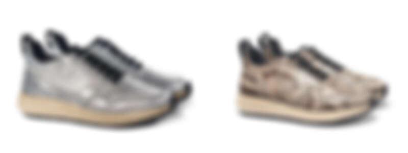 TOD'S銀色草編皮革運動鞋,NT27,200;TOD'S蛇皮草編運動鞋,NT52,400。