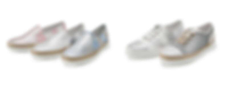 TOD'S光面條紋草編休閒鞋,NT18,400;TOD'S光面條紋繫帶休閒鞋,NT21,400;TOD'S金屬皮革繫帶休閒鞋NT19,900。