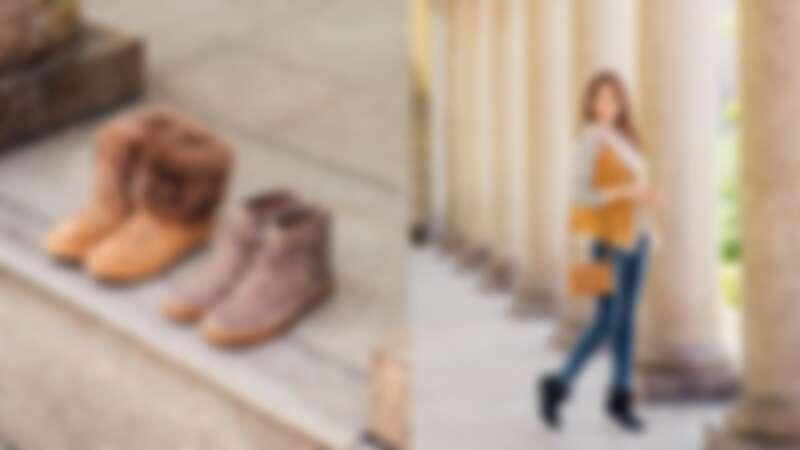Antoine毛毛休閒鞋 NT.7500(左)Reid 綁帶短靴 NT.5500(右)/ Toscana 翻皮羊毛背心 NT.52500;Olive 斜背包 NT.9200;Alexia 流蘇短靴 NT.5800