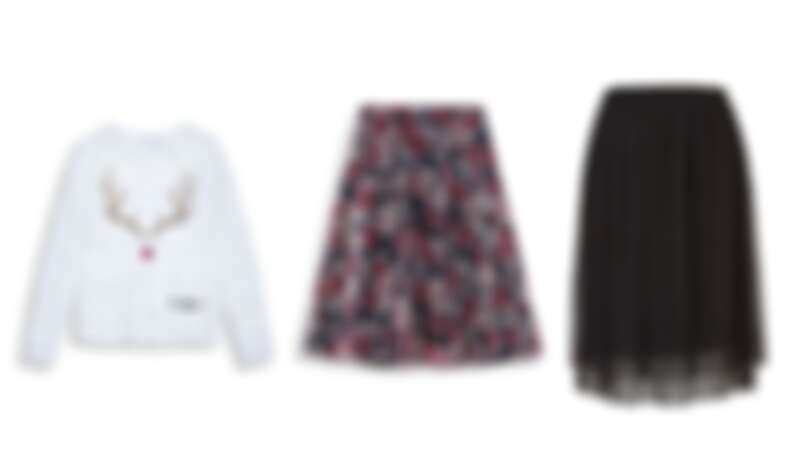 (左)聖誕風毛衣 NT2490 / (中)花朵紗裙 NT2990 / (右)圓點紗裙 NT1990