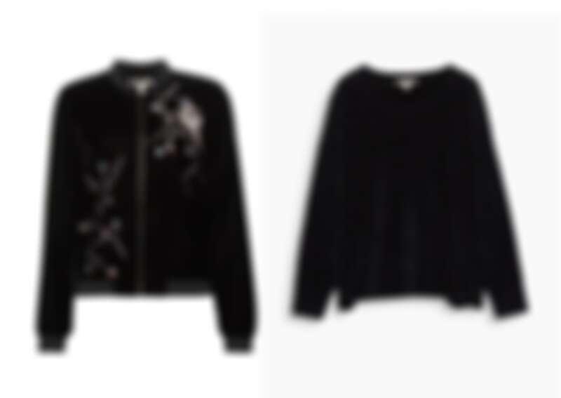 (左)鏽花天鵝絨外套 NT3990 / (右)天鵝絨寬版上衣 NT2490
