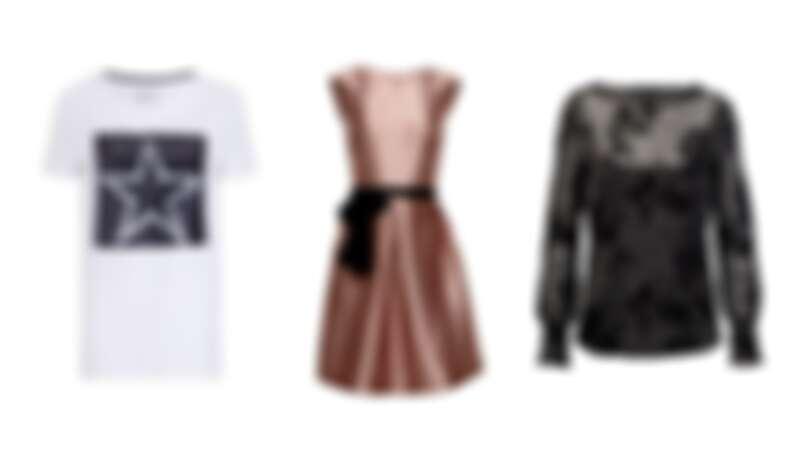 (左)亮片Tee NT1290 / (中)金屬光澤洋裝 NT3690 / (右)金蔥繡花上衣 NT1890