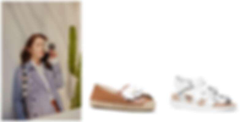 由左至右:楊冪優雅演繹Michael Kors 春日浪漫風尚、Michael Kors Kit 花飾草編鞋、Reggie 白色休閒涼鞋